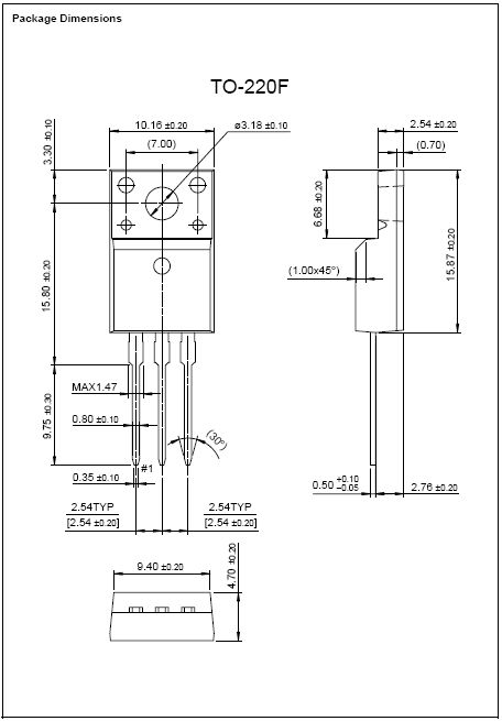 Tranzisztor N-MOSFET 900V 3.6A 40W <3.6R(2A) 2SK1460 2SK1460 -
