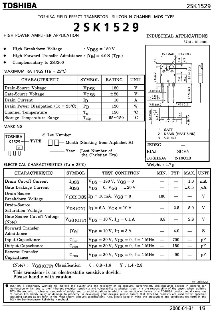 N-MOS 180V 10A 120W 0.25R NF-E 2SK1529 -