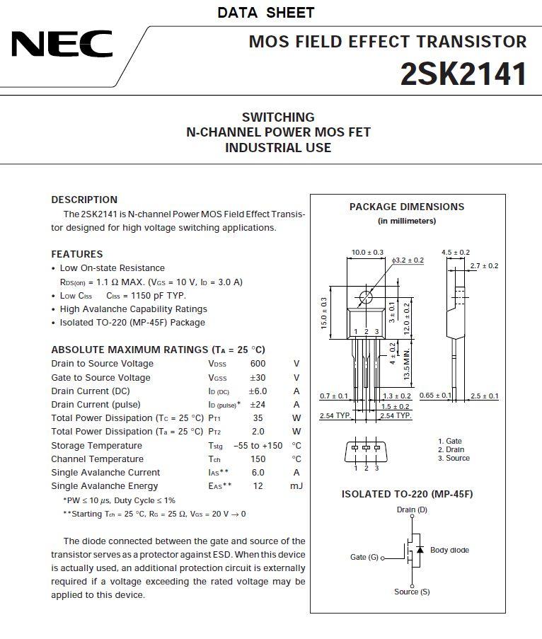 Tranzisztor N-MOSFET 600V 6A/24App 35W 0.8R(3A) 2SK2141 2SK2141 -