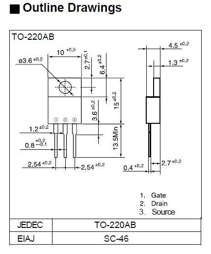 Tranzisztor N-MOSFET+D 250V 2A/8Ap 20W 1.2R 2SK2251 2SK2251 -