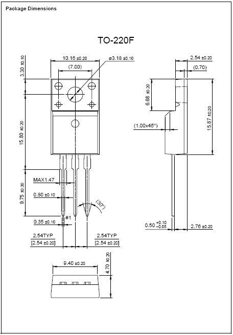 Tranzisztor N-MOSFET+Z 800V 5A IDp:15A 45W 1.9R 2SK2605 2SK2605 -