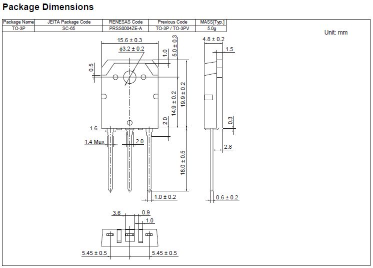 Tranzisztor N-MOSFET+Z 500V 15A/60Ap 150W 0.4R (7A) 2SK2698 2SK2698 -