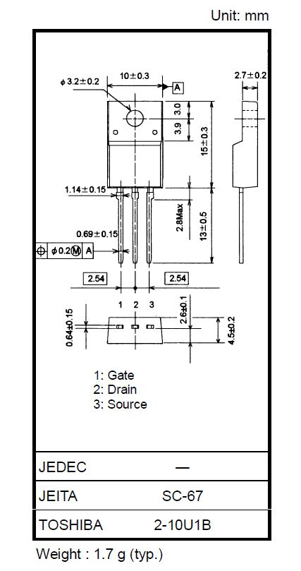 Tranzisztor N-MOSFET+Z 500V 8A IDp:32Ap 40W 0.75R SW-Reg. 2SK3561 2SK3561 -