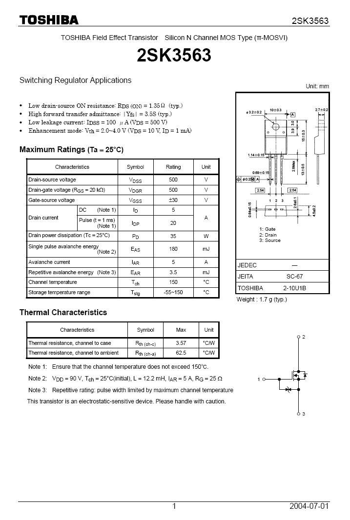 N-MOS+Z 500V 5A IDp:20Ap 35W 1.35R SW-Reg. 2SK3563 -