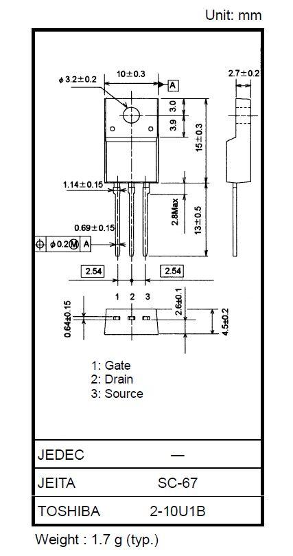 N-MOS+Z 900V 3A IDp:9Ap 40W 3.7R SW-Reg. 2SK3564 -