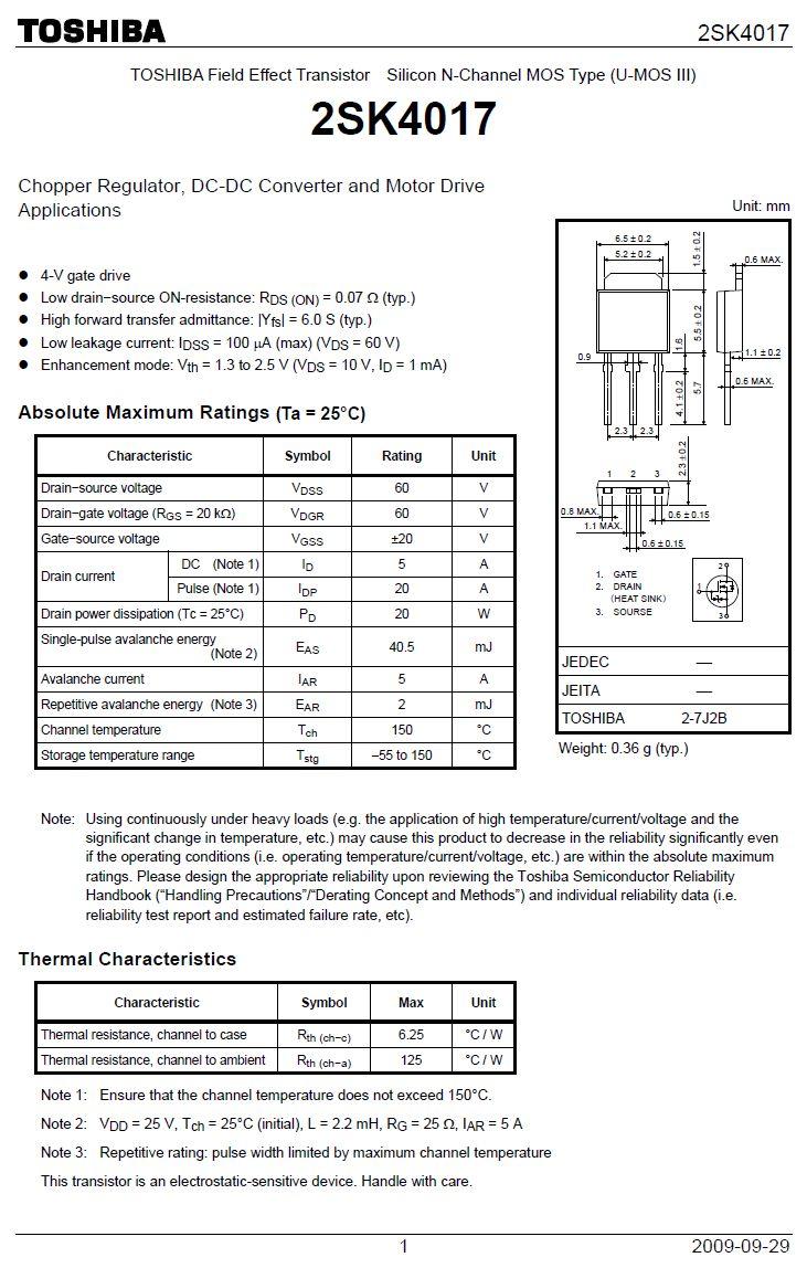 Tranzisztor N-MOSFET+Z 60V 5A/20Ap. 20W 0.09R ton:20nS, toff:35nS 2SK4017(Q) 2SK4017(Q) -