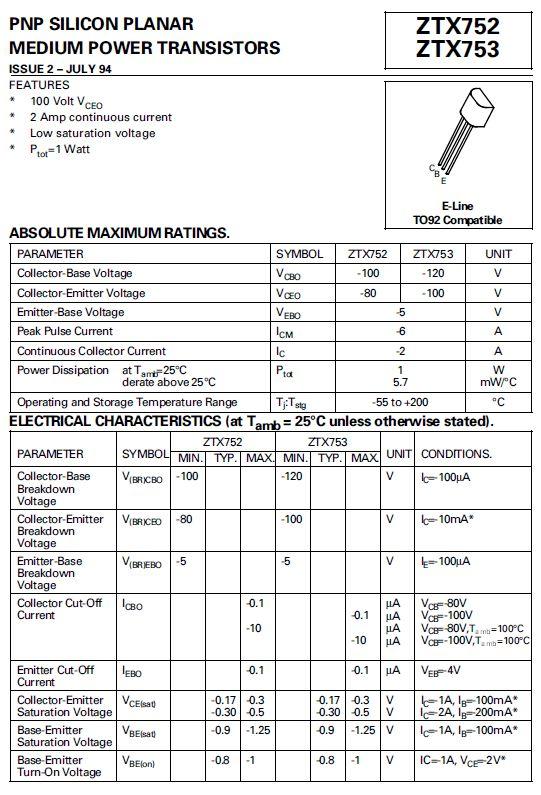 SI-P 100/80V 2A 1W 140MHz Cobo:30pF ZTX752 -