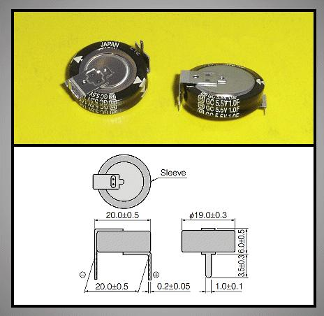 BACK UP kondenzátor 1.0F 5.5V RM-20 (fekvő) BUC-1.0F-H -
