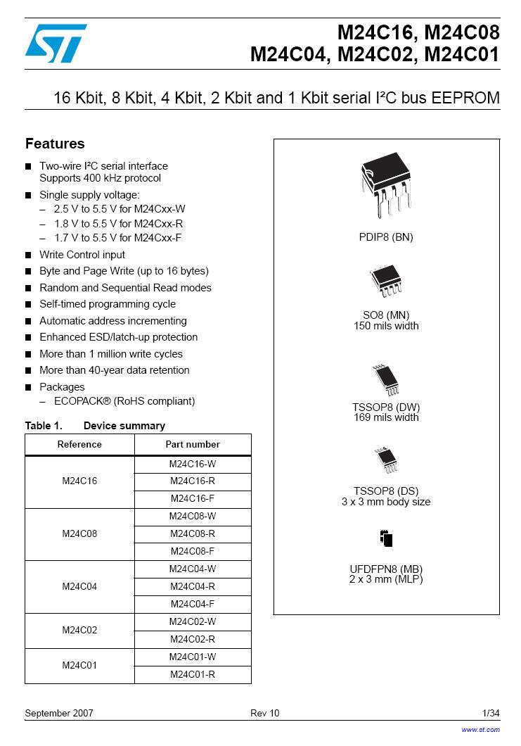 EEPROM 512Kx8 bit I2C-bus 8p.SMD 24C04-WMN6P -