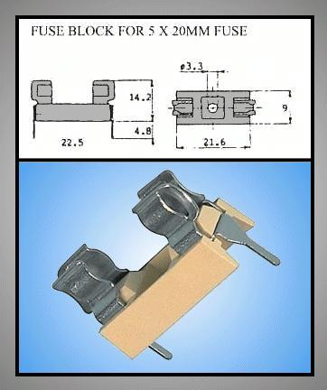 Műanyag biztosíték tartó, 5x20 nyákos 22,5mm lábtáv, ZH1