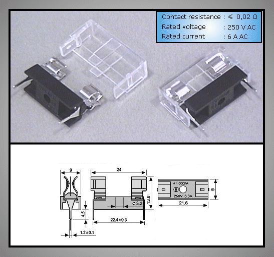 Műanyag biztosíték tartó, 5x20 nyákos +burkolat ZH1-ASSY