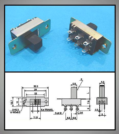 Tóló kapcsoló 2x3p. 35,2x12.6mm (2 áramkörös) SW18200