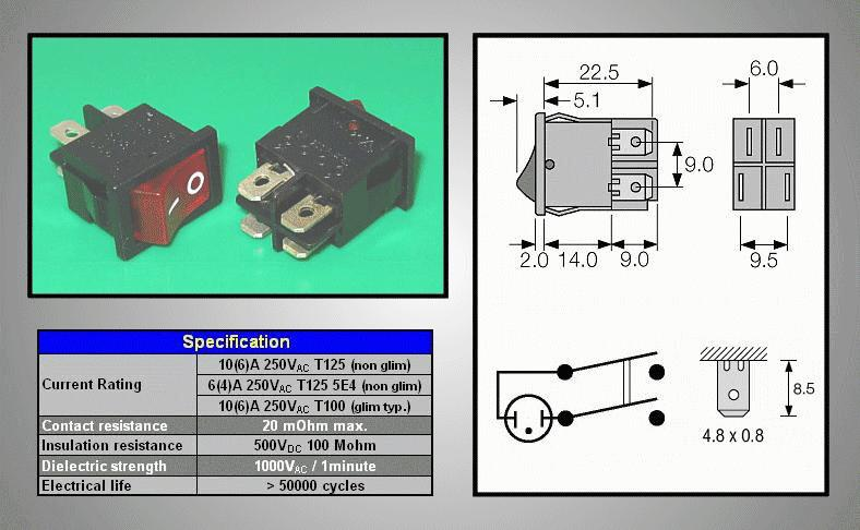 Billenő piros világító, MINI 2 áramkörös SW2151R