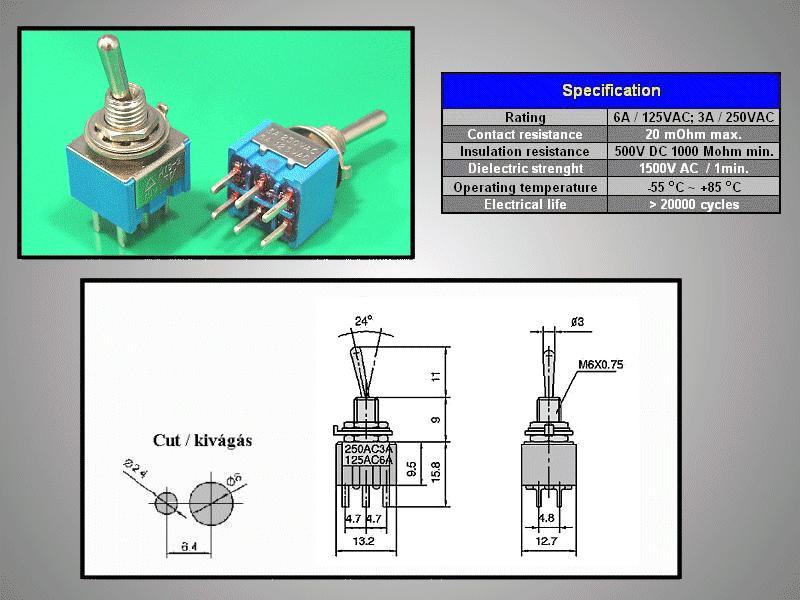 Miniatűr karos kapcsoló 250VAC 6A 2x3p. PCB SW2002/3P