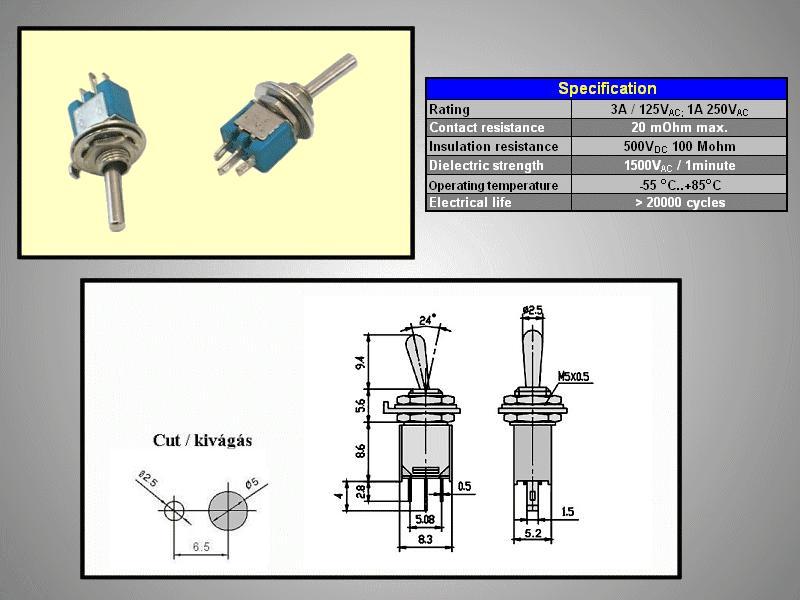 Miniatűr karos kapcsoló 250VAC 1.5A 1x3p. forrfüles SW2001/1S