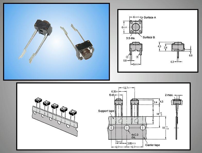 Mikrokapcsoló 6x6mm 2p. gomb:0.8m (nyomó erő:100g) SW100662/008