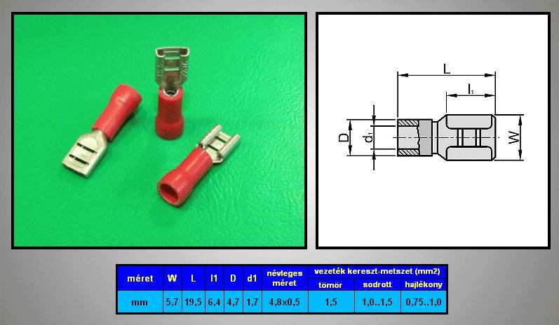 Kábelsaru 4.8/0.5 hüvely 0.5-1.0mm2 piros CS-K1480510/FSZR