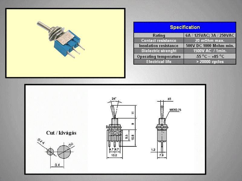 Miniatűr karos kapcsoló 250VAC 3A 1x3p. PCB SW2001/2P