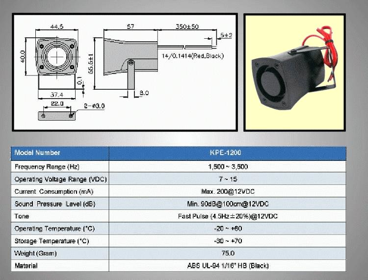 Piezoelektromos sziréna KPE-1200 BZ-010