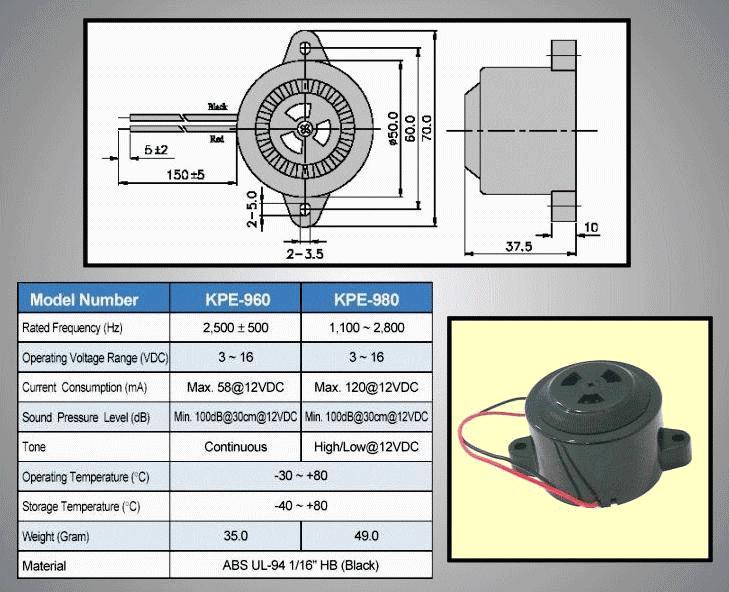 Piezoelektromos sziréna KPE-980 BZ-020