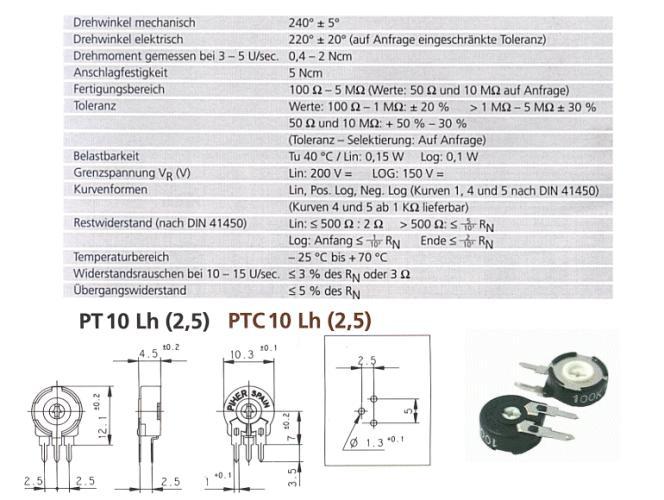 TRIMMER 100K 10mm álló, nyilazott TRIM 100K-10V