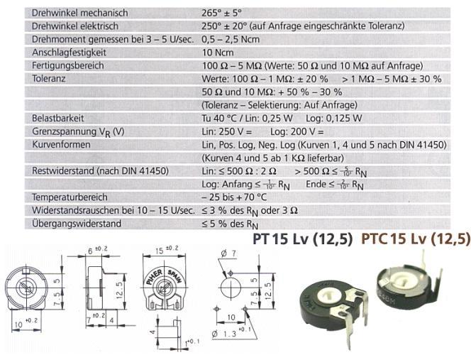 TRIMMER 10K 15mm fekvő (nyilazott) TRIM 10K-15HL
