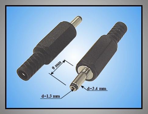 DC dugó L=43mm 3.4x1.3x 9mm+T CSAT-P0034/13T