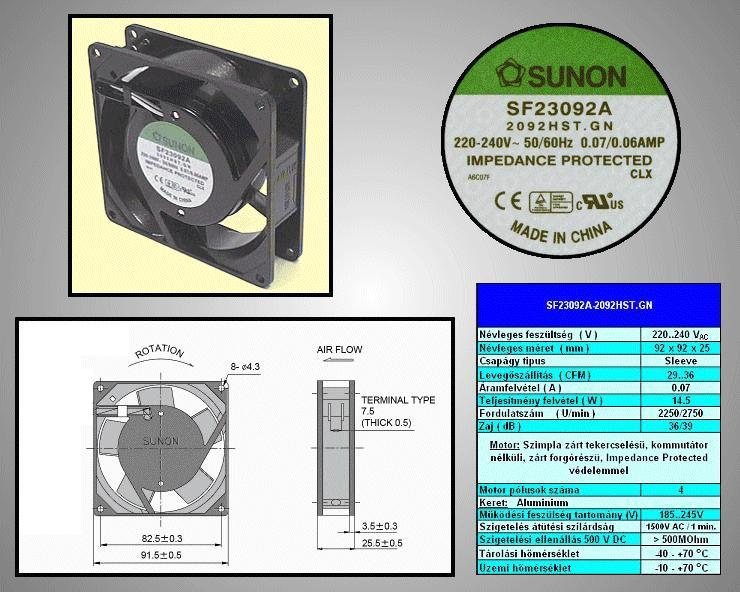 230V ventilátor 92x92x25mm SF23092A2092HST.GN CY 230/09225