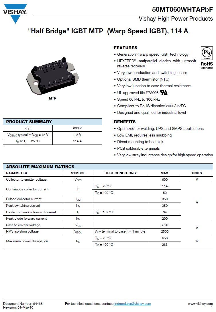 N-IGBT 600V 114A 350Ap.658W Vce(on)2.3V 50MT060WHTAPBF -
