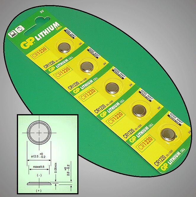 3V 36mAh lítium elem GP CR1220-C5 BAT CR1220