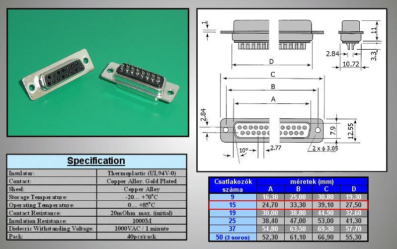 D-SUB 15p. aljzat CS-DS015S/2