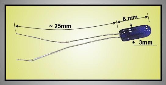 Izzó 3V 90mA szinezett kék 3x8 LAMP 0603/B