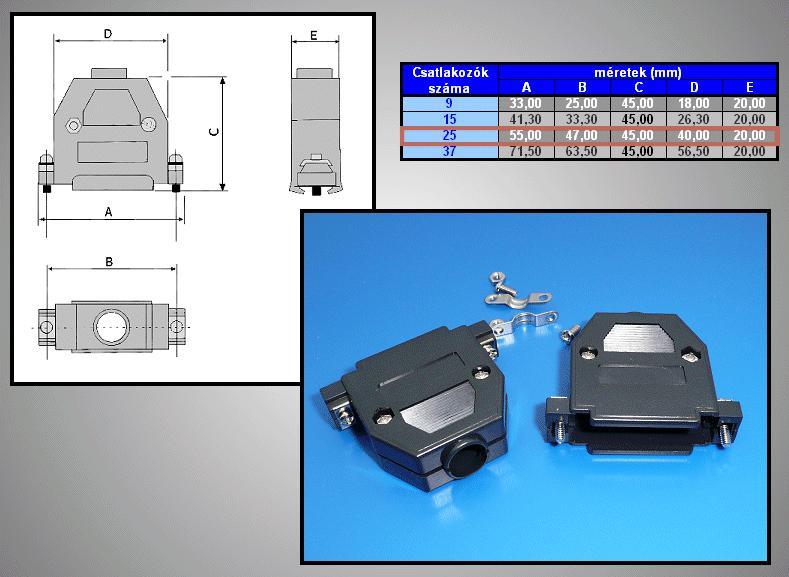 D-SUB 25p. műanyag ház normál csavaros CS-DS025H/F