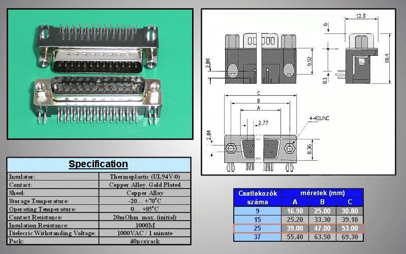 D-SUB 25p. dugó PCB 90° CS-DS025P/N90