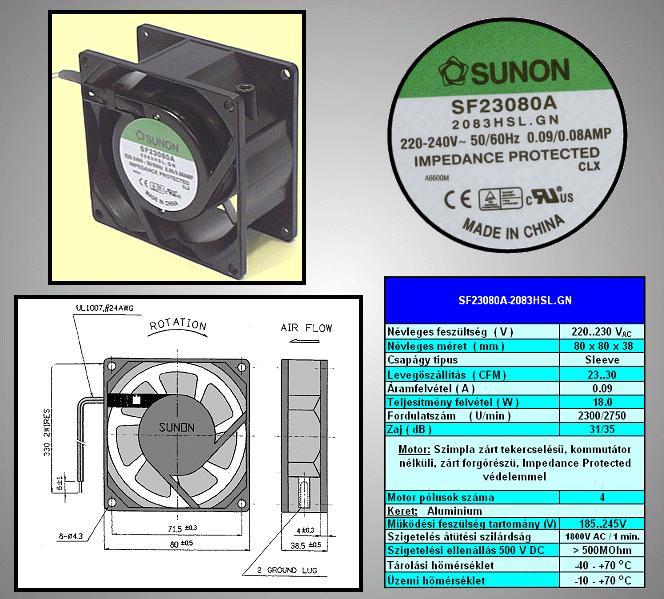 230V ventilátor 80x80x38mm SF23080A2083HSL CY 230/08038