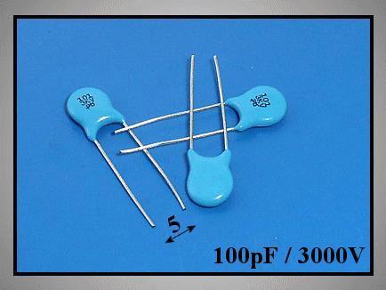 Kondenzátor 100pF 3000V kerámia Y5P RM-5 C100P 3000/CER