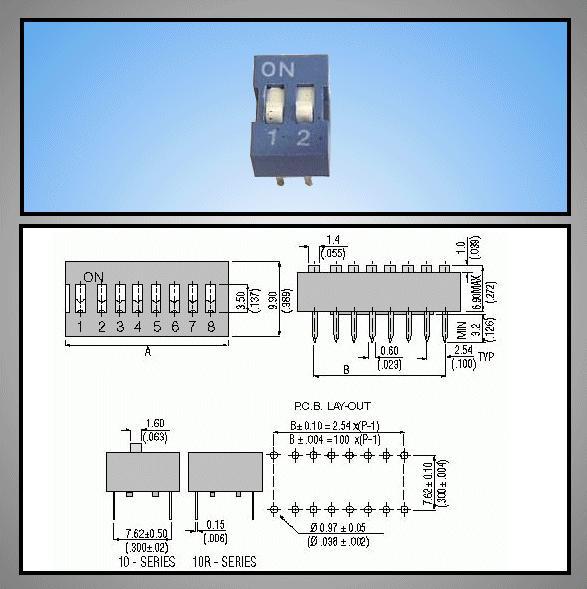 2 érintkezős DIP kapcsoló Stand. Blue DS-02