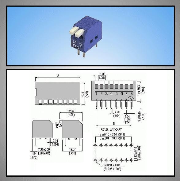 2 érintkezős DIP kapcsoló Piano, Blue DS-02P