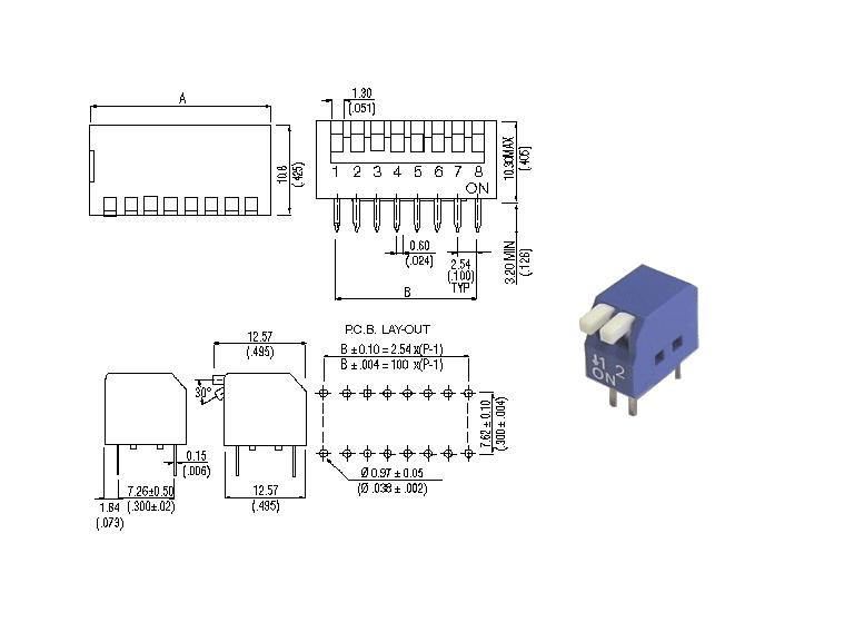 2 érintkezős DIP kapcsoló Piano, Blue DS-02P -