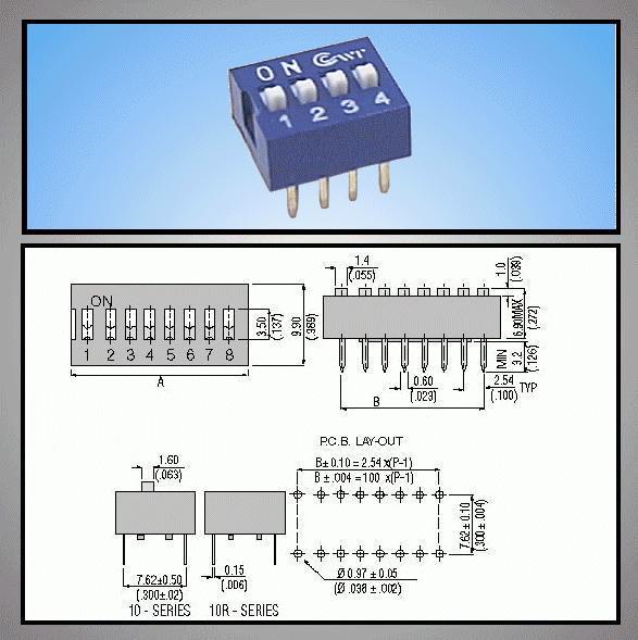 4 érintkezős DIP kapcsoló Stand. Blue DS-04