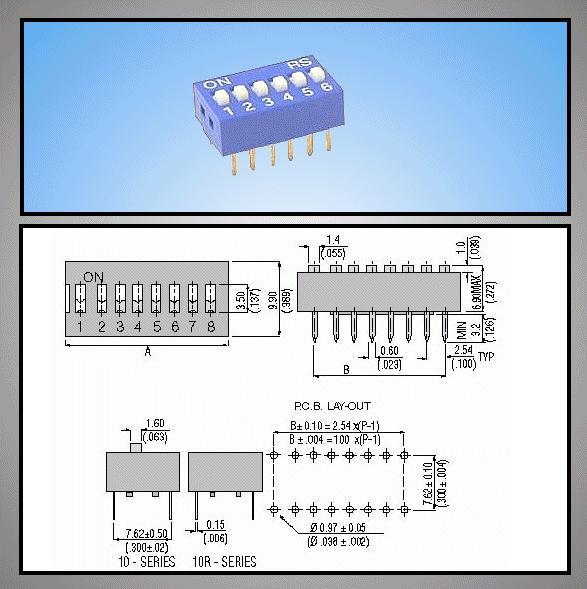 6 érintkezős DIP kapcsoló Stand. Blue DS-06