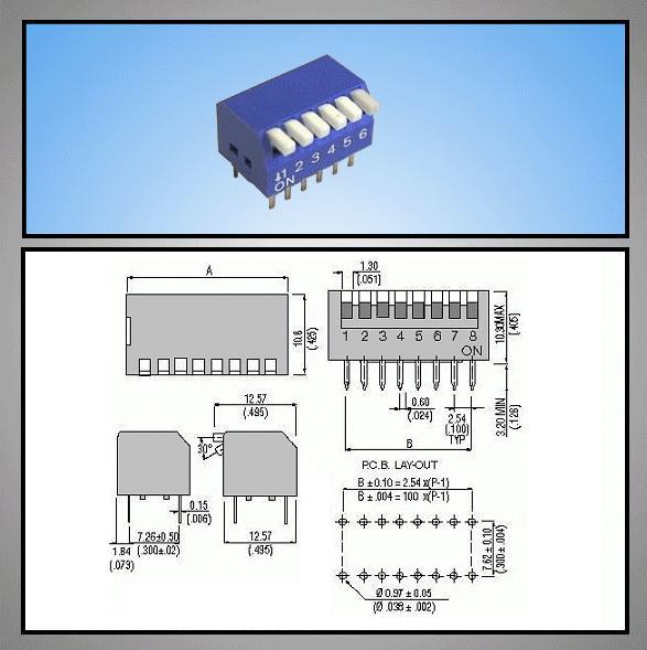 6 érintkezős DIP kapcsoló Piano DS-06P