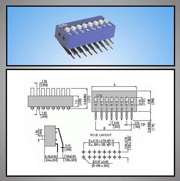 8 érintkezős DIP kapcsoló Vert. DS-08V