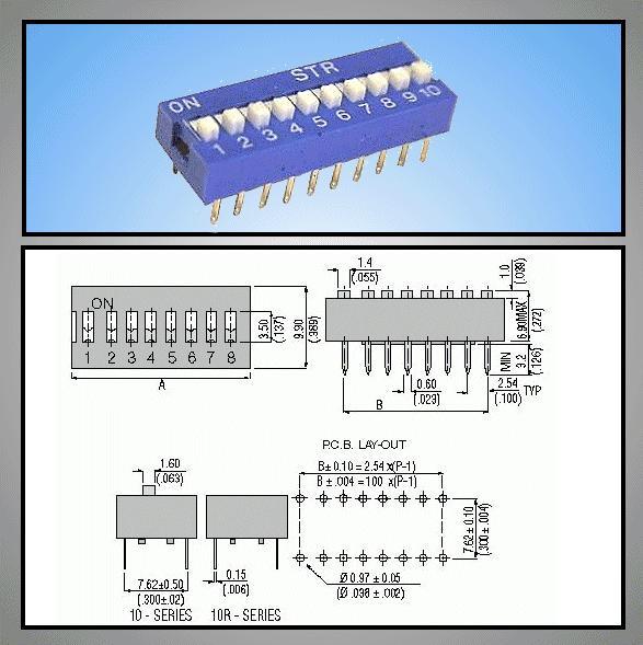 10 érintkezős DIP kapcsoló Stand. DS-10