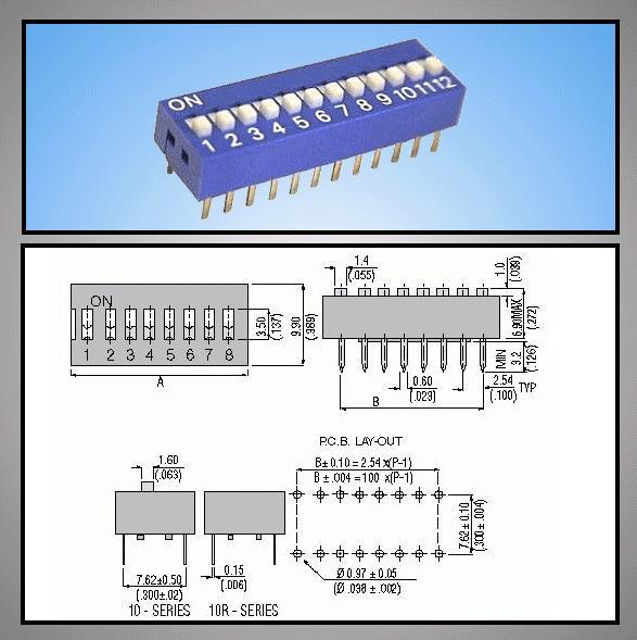 12 érintkezős DIP kapcsoló Stand. DS-12