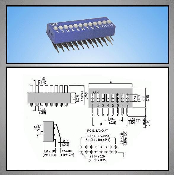 12 érintkezős DIP kapcsoló Verti. DS-12V