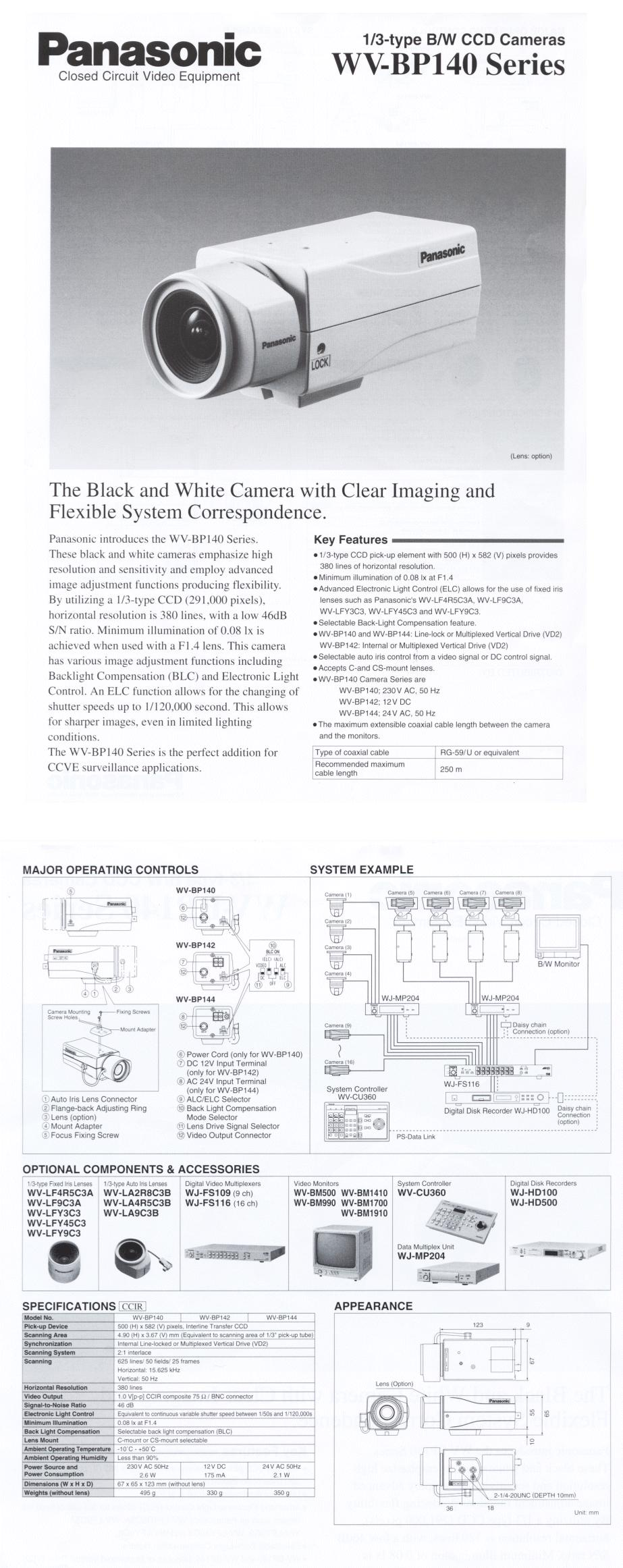 BIZTONSÁGI KAMERA WV-BP140/G4 //SEC. CAM 200