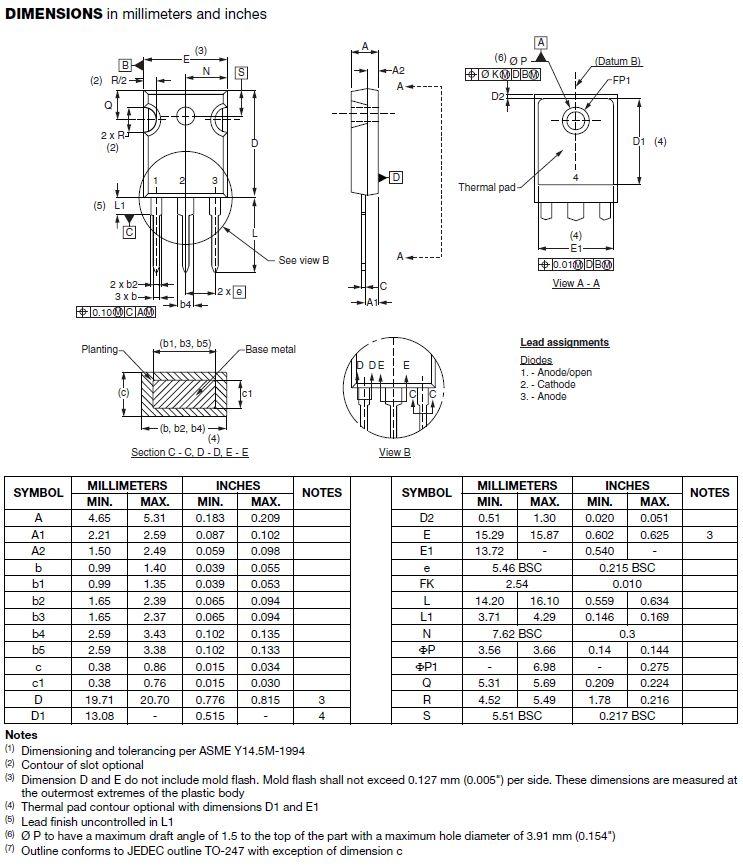 Dióda 200V 60A/800Ap 28nS 3p. 60APU02PBF 60APU02PBF -