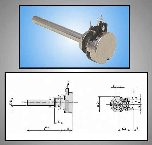 Potméter fém mono lineáris 6mm 6MMI 100K