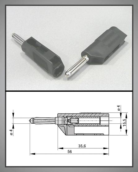 4mm banándugó fekete vezeték + aljzat 60V/30A CSAT-B005/B